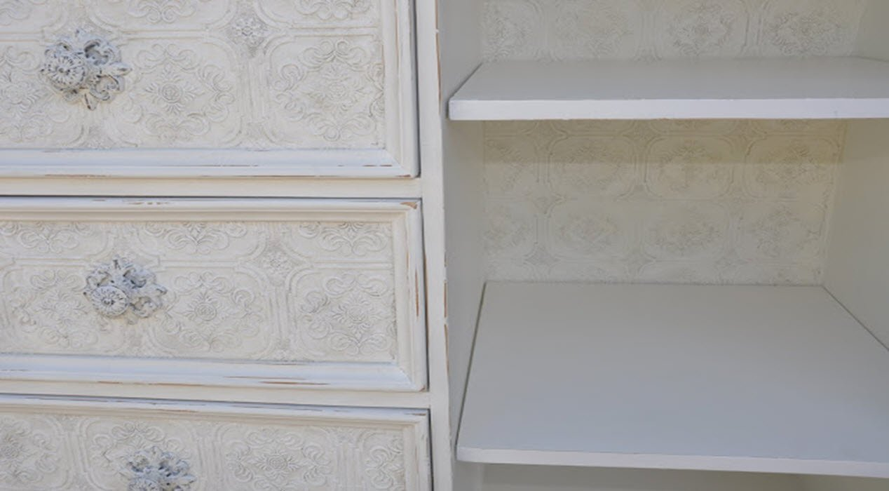 Beautifully Textured Wallpaper Dresser Makeover!