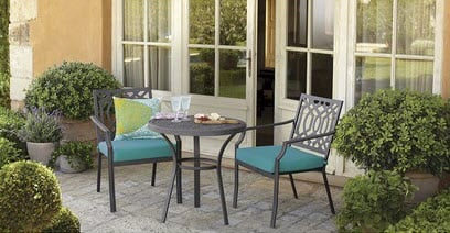 Small Front Porch Transformed with a Patio Bistro Set!