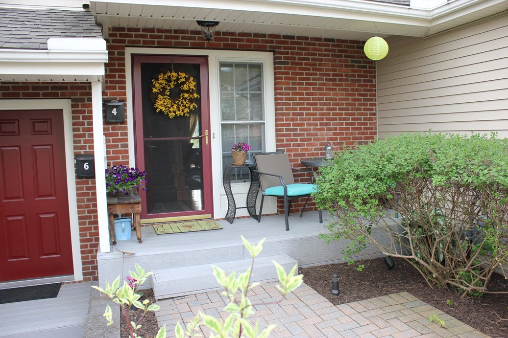 Small front porch transformed with a patio bistro set for What is a porch