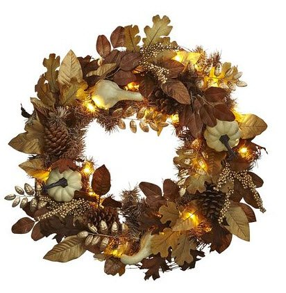 Autumn Bronze Leaves Pre-Lit Wreath
