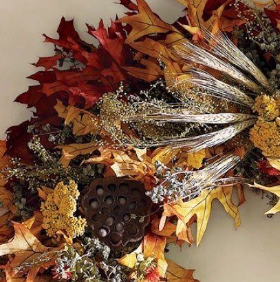 closeup Fall Leaf Wreath
