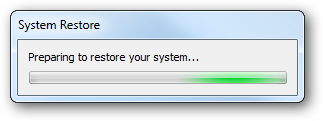 Restoring the System From A Created Restore Point