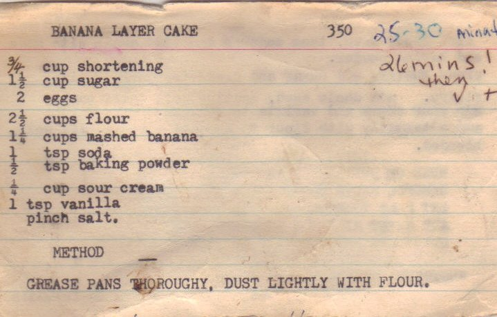 Banana Layer Cake old recipe card