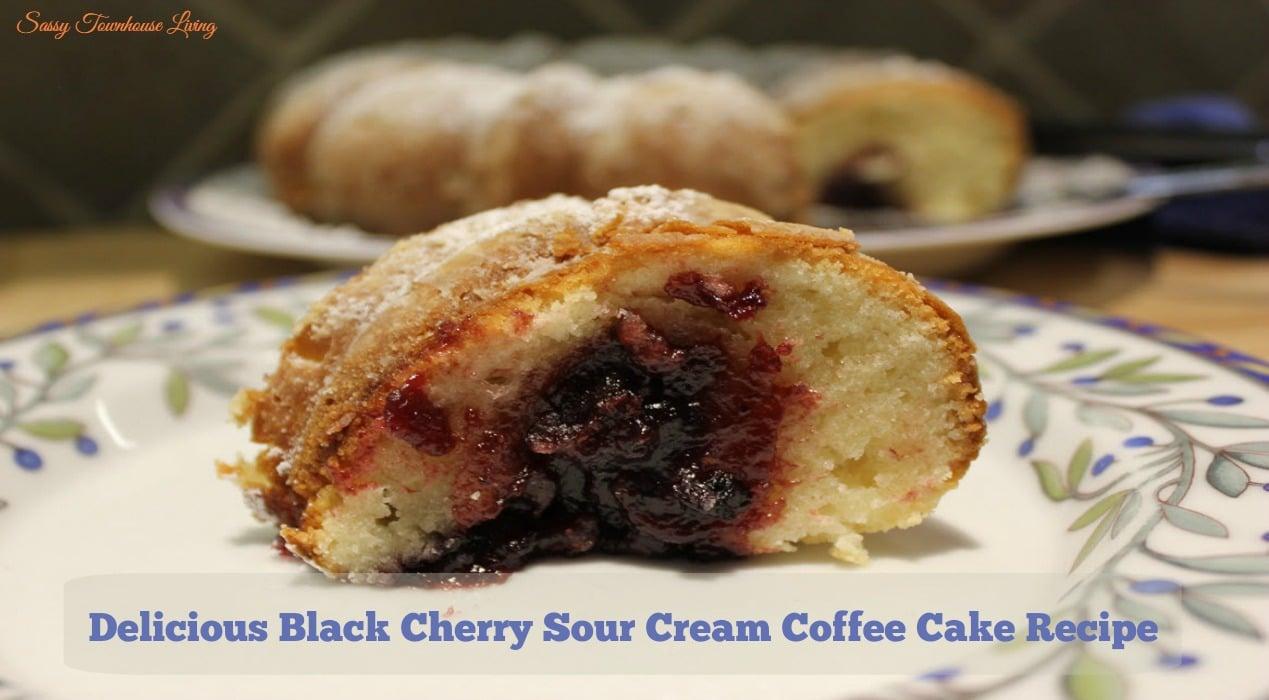 Delicious Black Cherry Sour Cream Coffee Cake Recipe - Sassy Townhouse Living