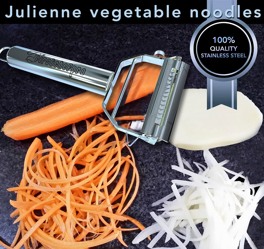Firstchefpro Ultra Sharp Dual Julienne Peeler & Vegetable Peeler