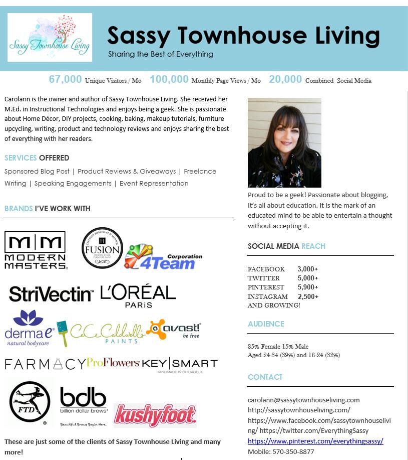Sassy Townhouse Living Media Kit
