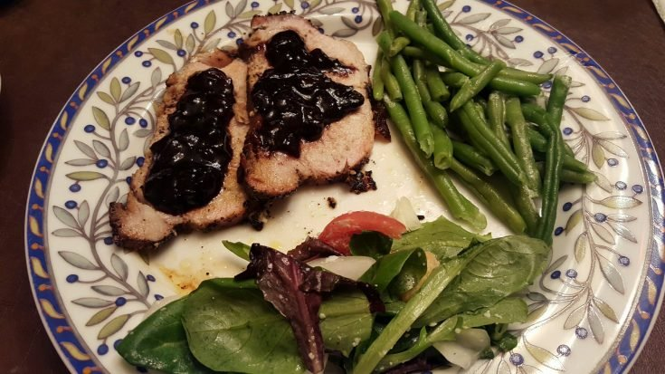 Coffee Rubbed Pork Loin With A Blueberry Balsamic Reduction Sauce