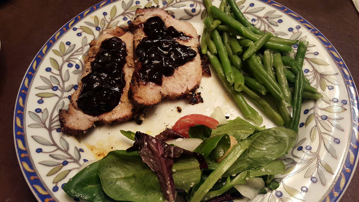 Coffee Rubbed Pork Loin With A Blueberry BalsamicReduction Sauce