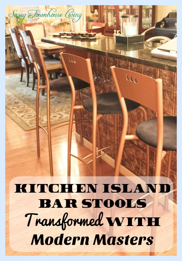 Kitchen Island Bar Stools Transformed With Modern Masters - Sassy Townhouse Living