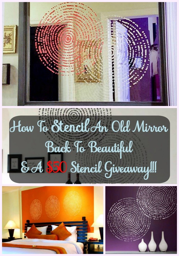How To Stencil An Old Mirror Back To Beautiful & A $50 Stencil Giveaway - Sassy Townhouse Living