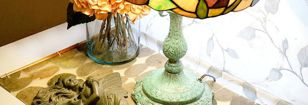 Patina Finish End Table Lamp1170
