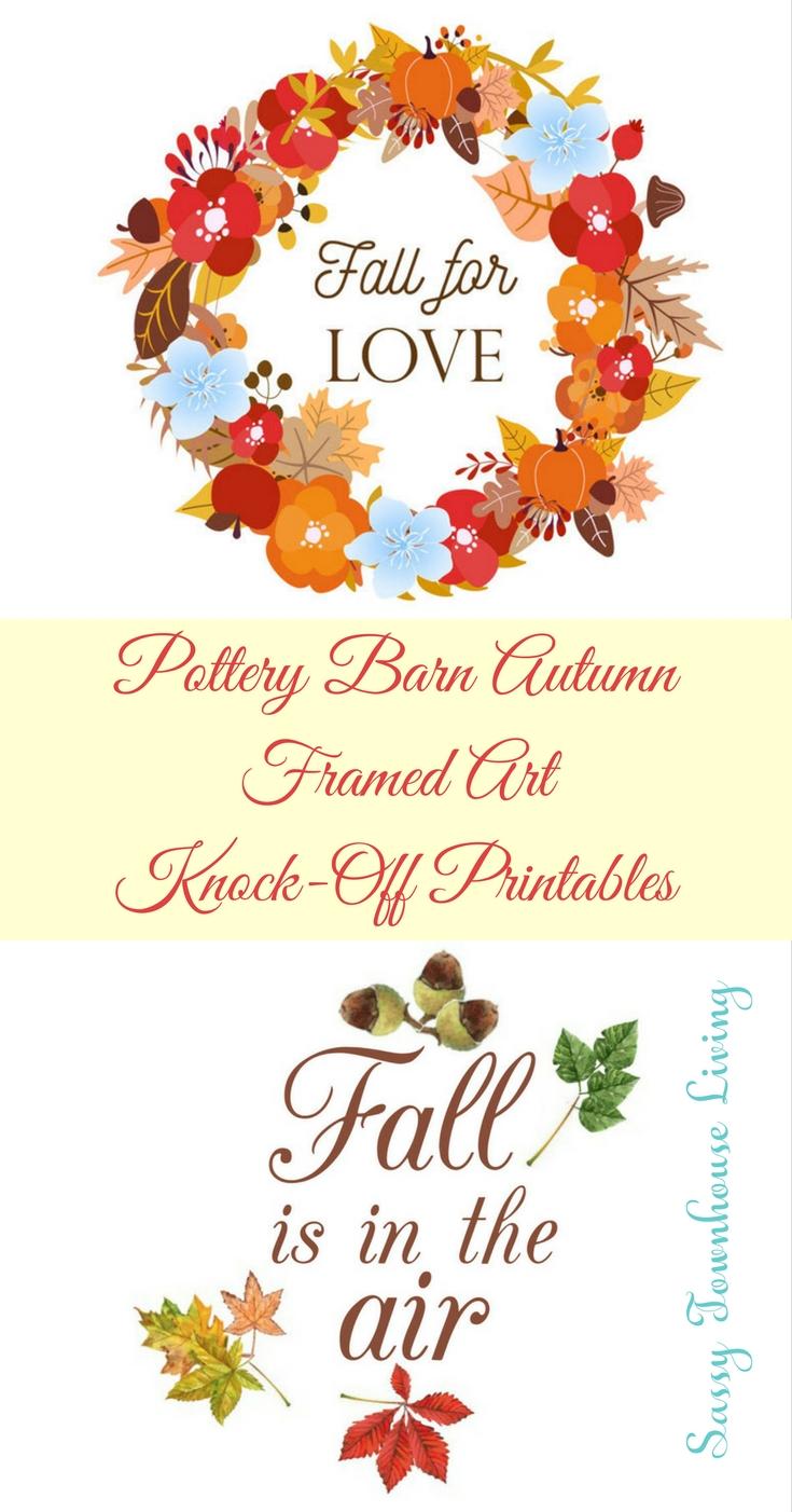 Pottery Barn Autumn Framed Art Knock-Off Printables - Sassy Townhouse Living