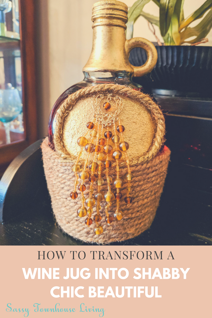How To Transform A Wine Jug Into Shabby Chic Beautiful - Sassy Townhouse Living