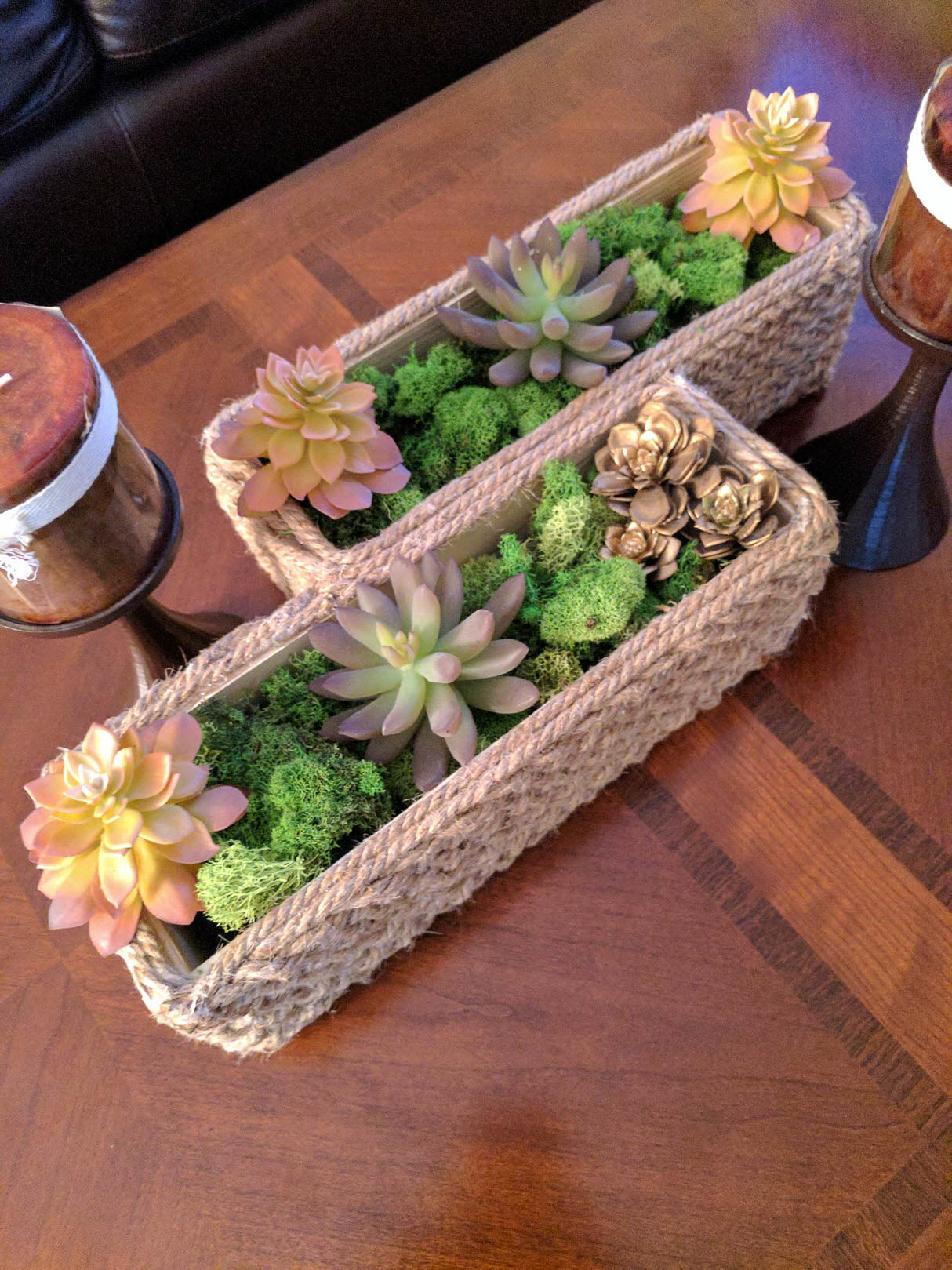 Metal Basket With Woven Jute