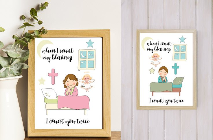 2 Free Printables – When I Count My Blessings – Boy And Girl Versions