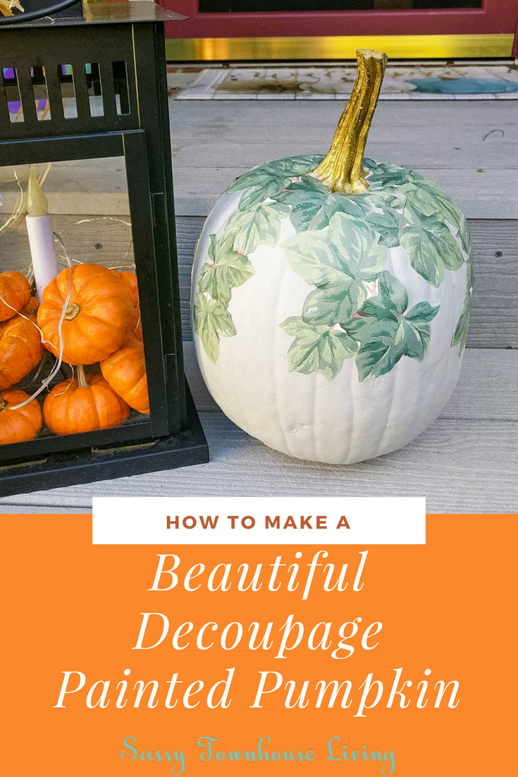 How To Make A Beautiful Decoupage Painted Pumpkin - Sassy Townhouse Living
