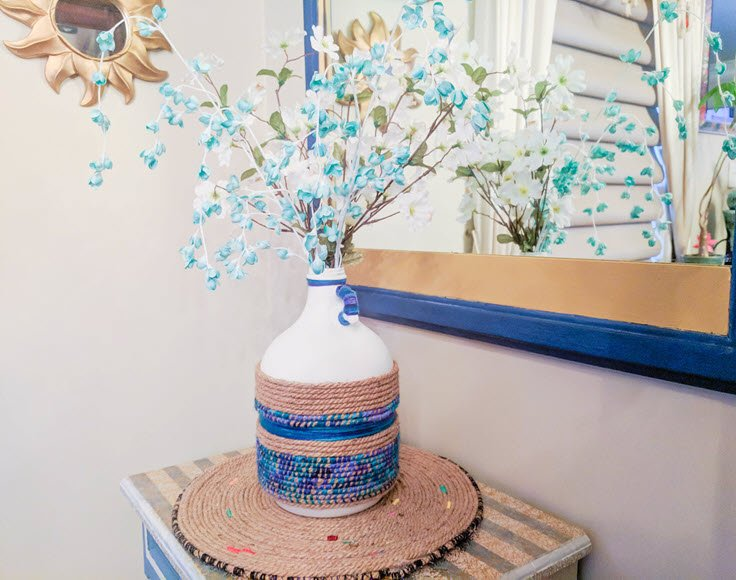 Upcycle An Old Wine Jug Using Ombré Jute And Paint