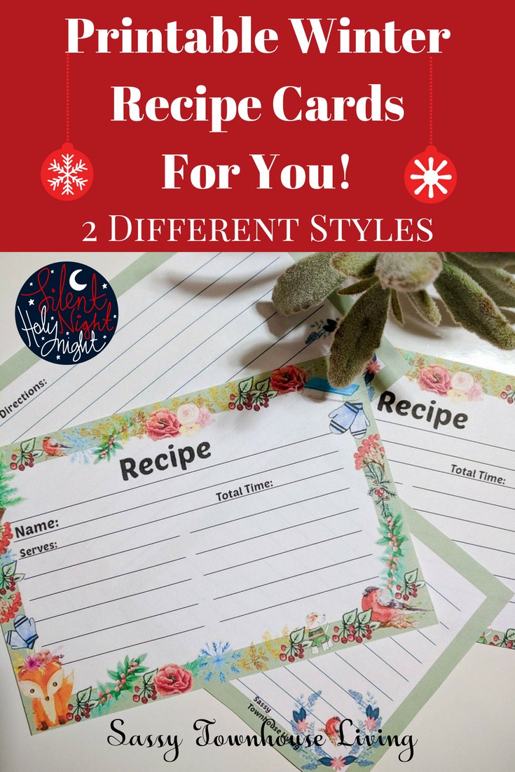 Printable Winter Recipe Cards For You - 2 Styles - Sassy Townhouse Living