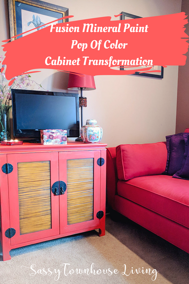 Fusion Mineral Paint Pop Of Color Cabinet Transformation - Sassy Townhouse Living
