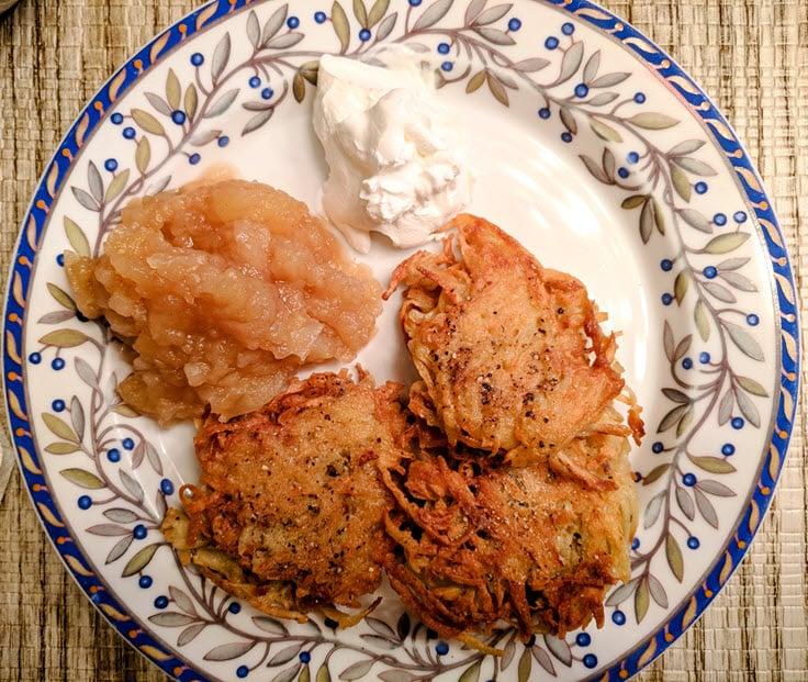 Homemade Applesauce With Potato Latkes