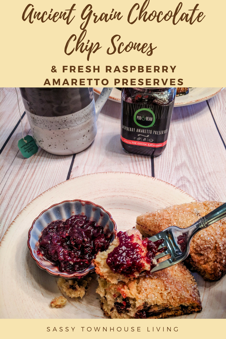 Ancient Grain Chocolate Chip Scones And Fresh Raspberry Amaretto Preserves - Sassy Townhouse Living