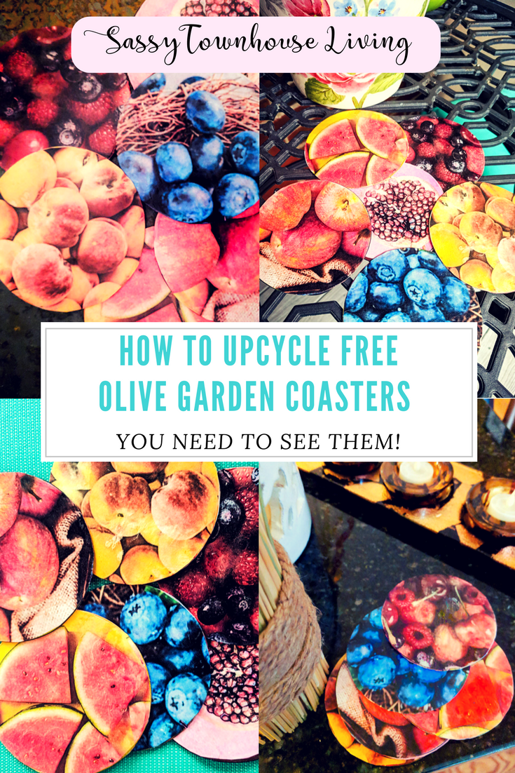 How To Upcycle Free Olive Garden Coasters - Sassy Townhouse Living