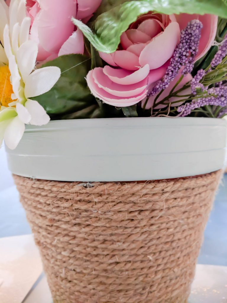 colorful jute wrapped flowerpot