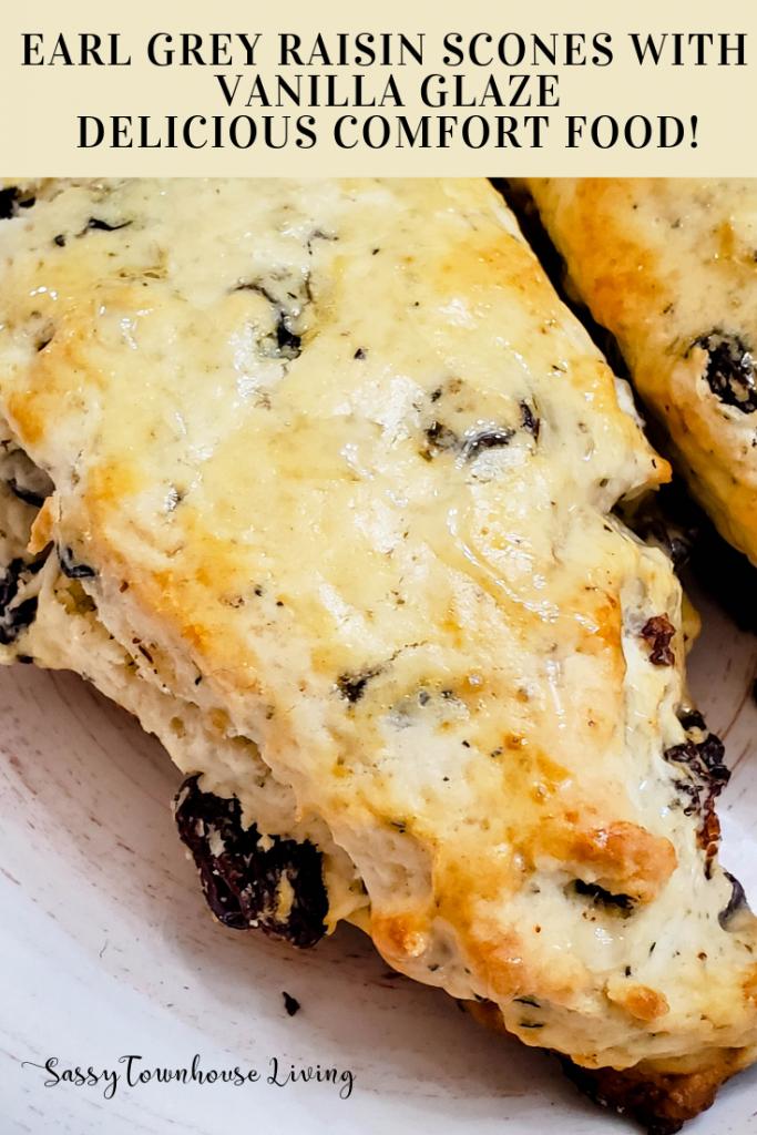 Earl Grey Raisin Scones with Vanilla Glaze - Delicious Comfort Food! Sassy Townhouse Living