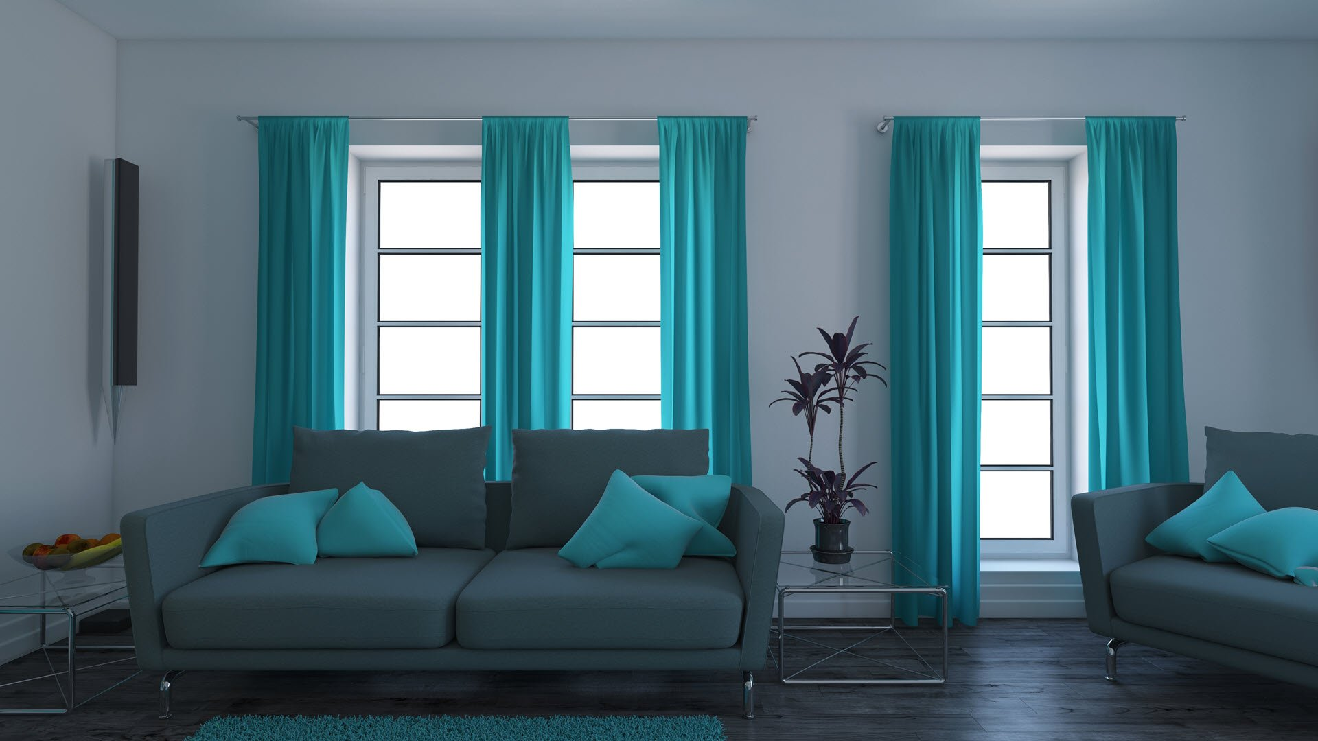 blue tones Minimalist Living Room