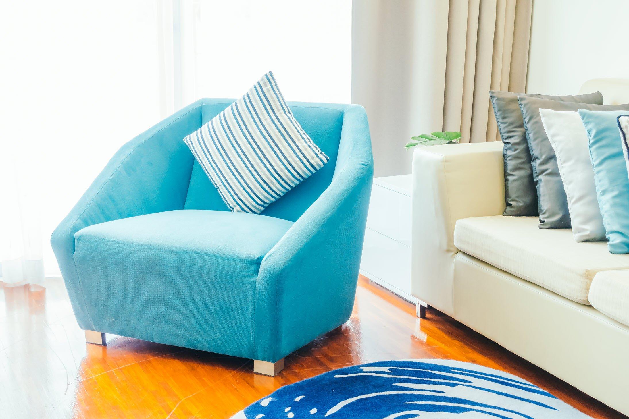 Minimalist Living Room blue accents