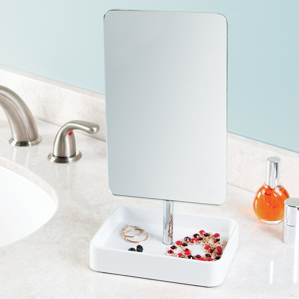 InterDesign Gia Free Standing Vanity Makeup Mirror with Tray