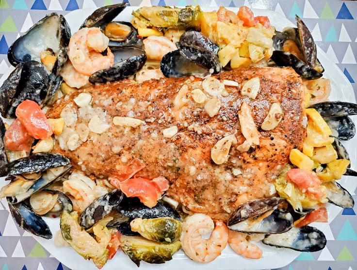 Cedar Planked Atlantic Salmon Seafood Summer Medley