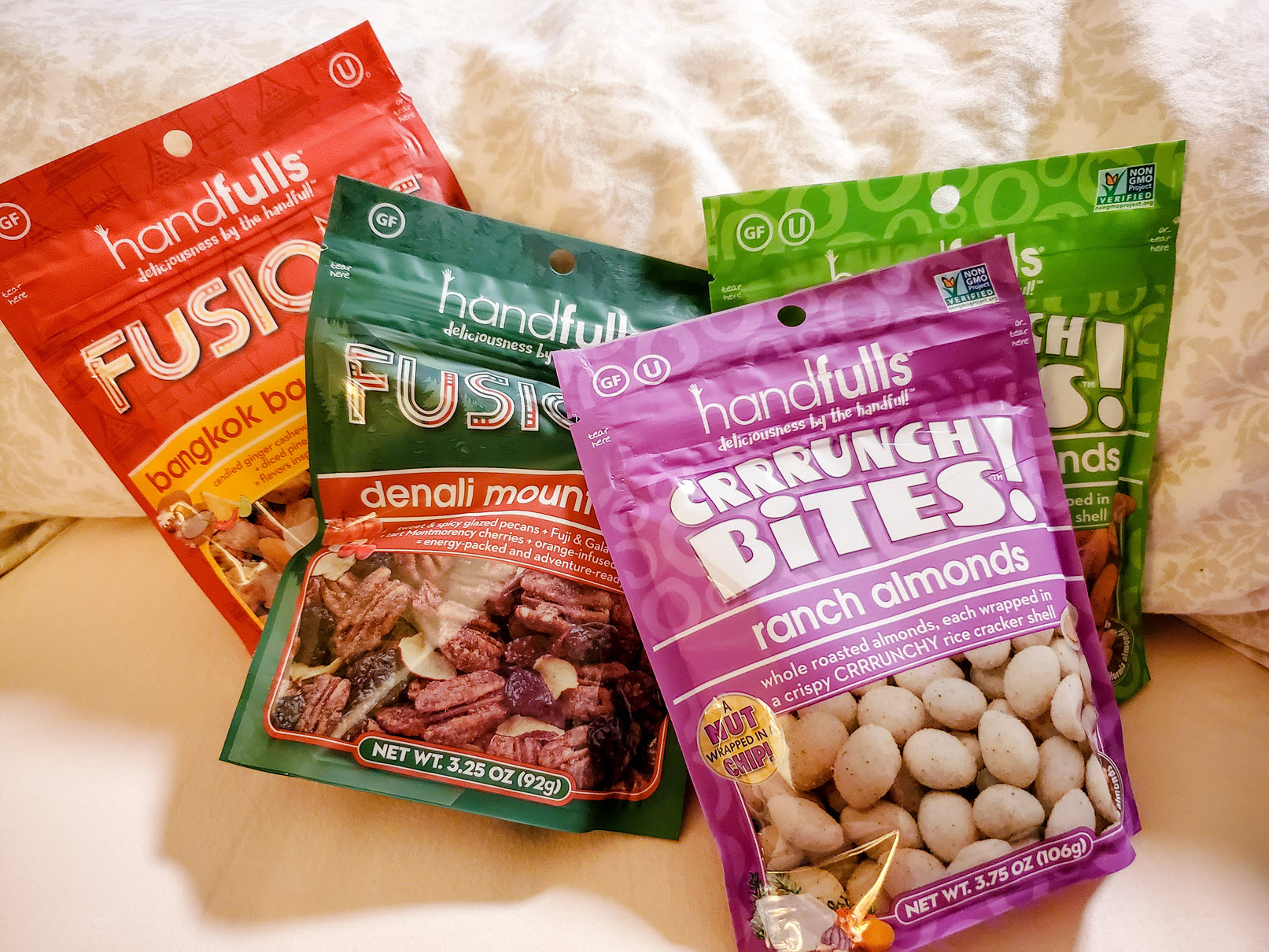CrrrunchBites Almonds Favorites (6-Pack) BBQ, Chili Lime, Honey Mustard, Nacho, Ranch & Sea Salt, by Handfulls.