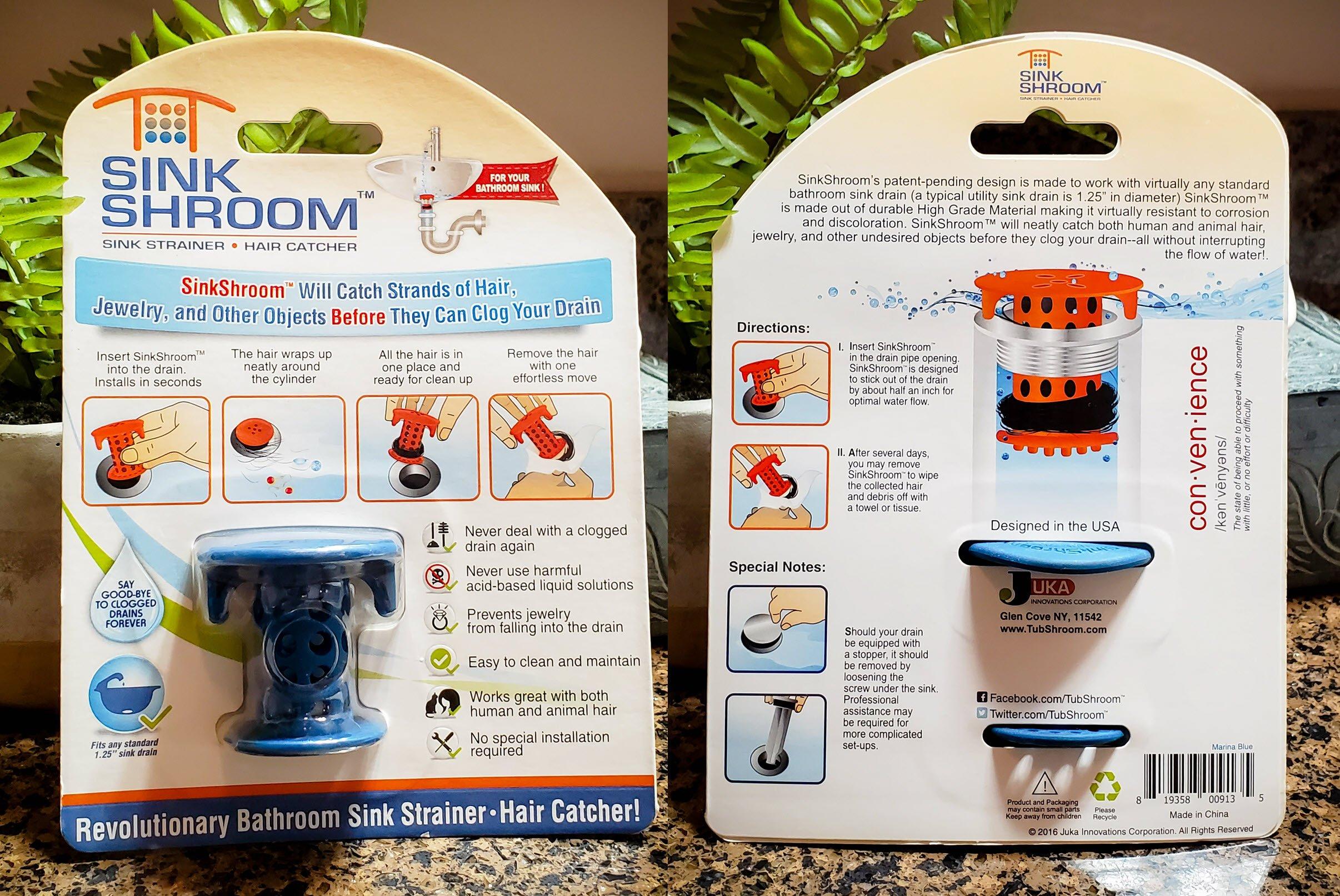 SINKSHROOM® (BLUE) THE HAIR CATCHER THAT PREVENTS CLOGGED BATHROOM SINK DRAINS