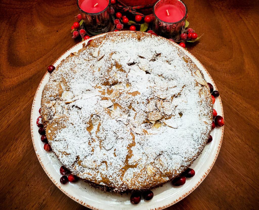 Apple, Cranberry, Almond Cake Recipe