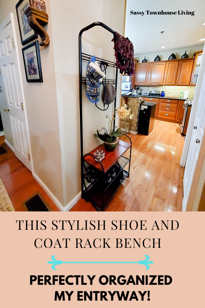 This Stylish Shoe And Coat Rack Bench Organized My Entryway - Sassy Townhouse Living