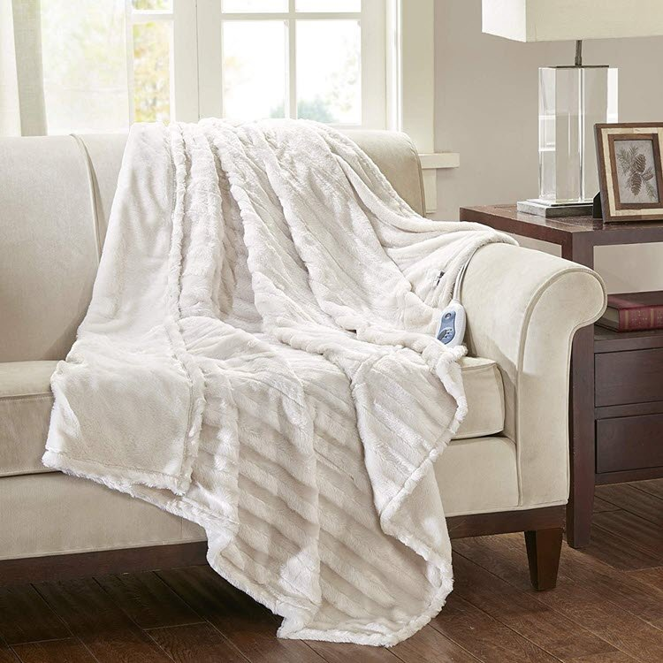 Beautyrest Heated Duke Luxury Faux Fur Heated Throw