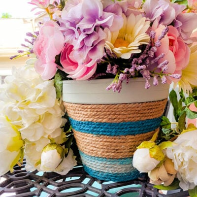 Colorful Rope Wrapped Flower Pot Featured