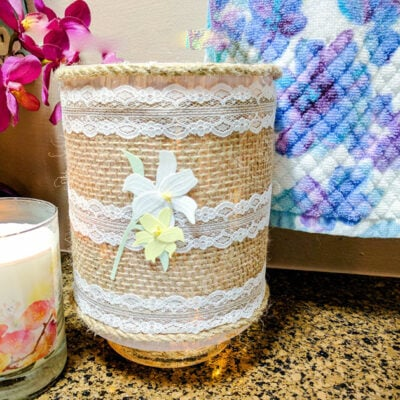 FEATURED Burlap Lighted Jar 13