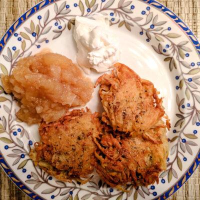 Homemade Applesauce Potato Latkes and Sour Cream featured