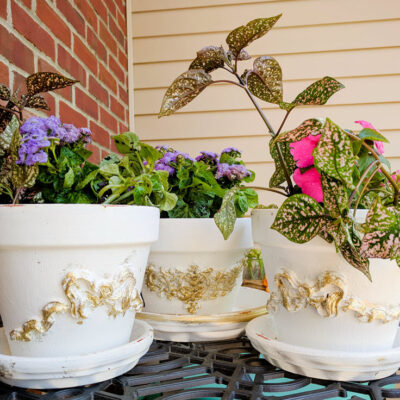 How To Make Beautiful Applique Clay Flower Pots Featured