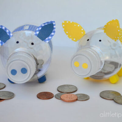 How to Create a Cute Piglet Piggy Bank With Reused Plastic Bottles featured