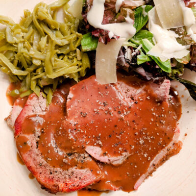 Pepper Crusted Roast Beef With Au Poivre Brown Gravy Featured